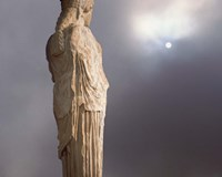Sculptures of the Caryatid Maidens Support the Pediment of the Erecthion Temple, Adjacent to the Parthenon, Athens, Greece Fine Art Print