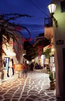 Alleyway at Night, Mykonos, Greece Fine Art Print