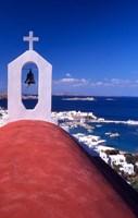 Greek Orthodox Church and Harbor in Mykonos, Greece Fine Art Print