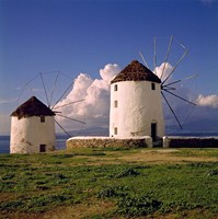 Greece, Mykonos White-washed Windmills Fine Art Print