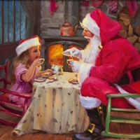 Santa Tea For Two Fine Art Print