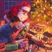 Santa, Boys And Their Trains Fine Art Print
