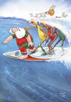 Surfin' Santa Fine Art Print