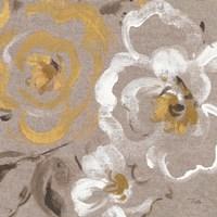 Brushed Petals III Gold Fine Art Print