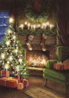 Christmas By The Fireplace Fine Art Print