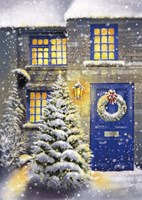 Blue Door and White Christmas Fine Art Print