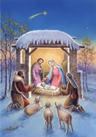 Mary and Joseph With Visitors Bearing Gifts Fine Art Print