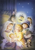 Mary and The Animals Manger Scene Fine Art Print