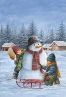 Winter Snowman Child Check Fine Art Print