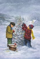 Christmas Tree Kid Check Fine Art Print