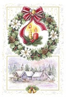 Holiday Wreath and Village With Candles Fine Art Print