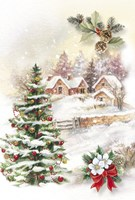 Christmas Tree and Snow Village Fine Art Print
