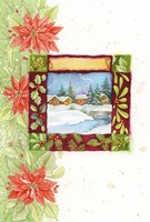 Pointsettia and Snow Village by DBK-Art Licensing - various sizes