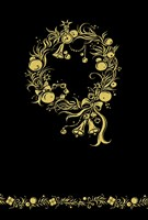 Black and Gold Holiday Wreath Fine Art Print