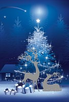 Blue and White Winter Tree and Deer by DBK-Art Licensing - various sizes