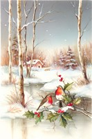 Birds In Town With Snow on Misteltoe Fine Art Print