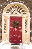 Red Door and Christmas Wreath Fine Art Print