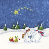 Bear Couple Holiday Snow Date Fine Art Print