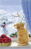Puppy With Snowman and Mistletoe by DBK-Art Licensing - various sizes