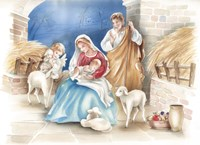 Mary and The Lambs Manger Scene Fine Art Print