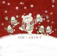 Merry Christmas Penguin and Bear Dance Fine Art Print