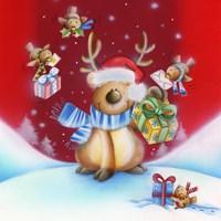 Birds Bearing Deer Christmas Gifts Fine Art Print