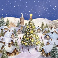Village Christmas Tree Meet Fine Art Print