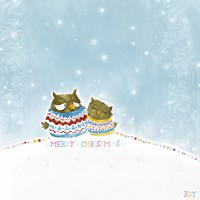 Merry Christmas Owl Couple Fine Art Print