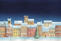 Christmas Tree and Colorful Village by DBK-Art Licensing - various sizes