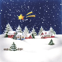 Holiday Star and Snow Village Fine Art Print