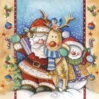Santa Deer Snowman Snuggle Fine Art Print