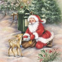 Santa's Meeting At the Mailbox Fine Art Print