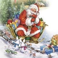 Santa's Christmas Sleigh Bunny Meeting Fine Art Print