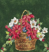 Pointsettia and Mistletoe Holiday Basket by DBK-Art Licensing - various sizes