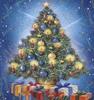 Christmas Tree and Colorful Gifts Fine Art Print