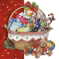 Christmas Toy Basket and Bear Fine Art Print