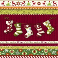 Christmas Eve Stocking Holiday Knit Fine Art Print