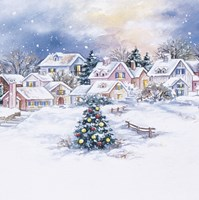 Christmas Tree In Snowy Village by DBK-Art Licensing - various sizes