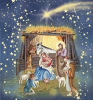 Christmas Manger and Shooting Stars Fine Art Print