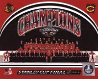 Chicago Blackhawks 2015 Stanley Cup Champions Team Sit Down Photo Framed Print