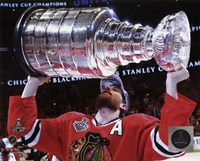 Duncan Keith with the Stanley Cup Game 6 of the 2015 Stanley Cup Finals Fine Art Print