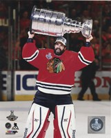 Corey Crawford with the Stanley Cup Game 6 of the 2015 Stanley Cup Finals Fine Art Print