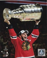 Jonathan Toews with the Stanley Cup Game 6 of the 2015 Stanley Cup Finals Fine Art Print