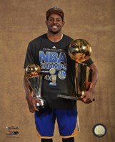 Andre Iguodala with the MVP & NBA Championship Trophies Game 6 of the 2015 NBA Finals Fine Art Print