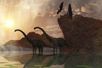 Diplodocus Dinosaurs and Pterodactyl Birds Greet the Early Morning Mist by Corey Ford - various sizes, FulcrumGallery.com brand