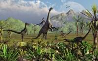 Velociraptor Dinosaurs Attack a Camarasaurus Framed Print