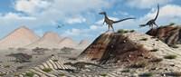 Velociraptors Stalking a Herd of Protoceratops Fine Art Print