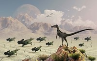 Protoceratops stampede in fear as a Velociraptor Watches Fine Art Print