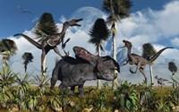 Velociraptors Attack a Lone Protoceratops Fine Art Print