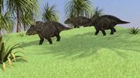 Three Triceratops Walking across an Open Field by Kostyantyn Ivanyshen - various sizes - $30.49